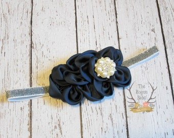 Navy Blue & Silver Headband -   Pearl Rhinestone Center - Newborn Infant Baby Toddler Girls Adult Wedding