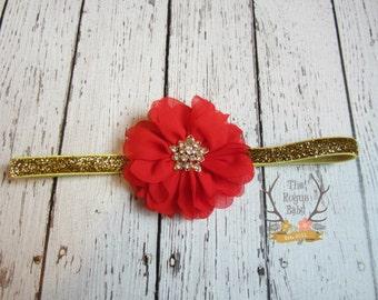 Red & Gold Headband -  Glitter Rhinestones - Woman Newborn Infant Baby Toddler Girls Adult