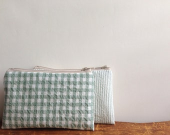 Coin Purse, Sage Green Gingham Check, Small Zipper Pouch