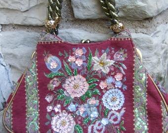 Beaded & Sequined Cloth Flower Handbag Designed by Vendula London