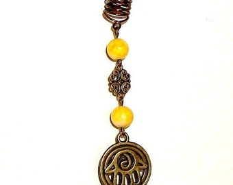 SALE/CLEARANCE - Dreadlock Jewelry - Antique Brass Hamsa Charm Loc Jewel