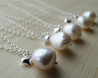 Pearl Necklace & Tiny Silver Heart - Sterling Silver