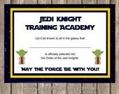 Printable Star Wars Jedi Certificate - INSTANT DOWNLOAD