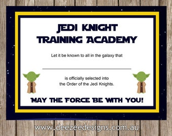 Printable Star Wars Jedi Certificate - INSTANT DOWNLOAD