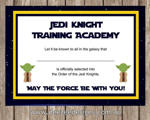Printable star wars jedi certificate instant download for Star wars jedi certificate template free