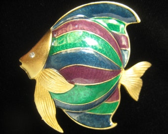 "CLEARANCE Enameled Fish Brooch in Matte Gold with Blue, Green & Plum Sections. Rhinestone Eye. Modernist Styling. 1-3/4"" H x 1-7/8"" W."