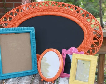 Upcycled Festival of Color Frame Grouping - Orange Oval Magnetic Chalkboard - Turquoise - Pink - Yellow - Boho Beach - Faux Wicker