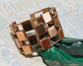 Vintage Copper Bracelet - Renoir Cuff - 1950's - Wide and Geometrical