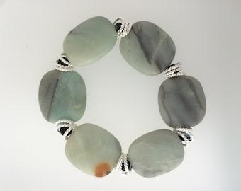 FINAL SALE - Amazonite with Black Tourmaline Stretch Bracelet