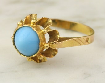 Vintage 22k Gold Persian Turquoise Bullet Buttercup Ring