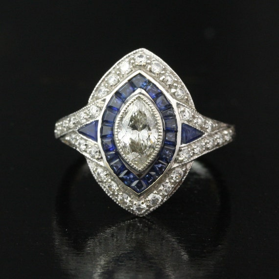 2.1 Carat Vintage Art Deco Style Diamond and Sapphire Halo Engagement Ring - 18k White Gold