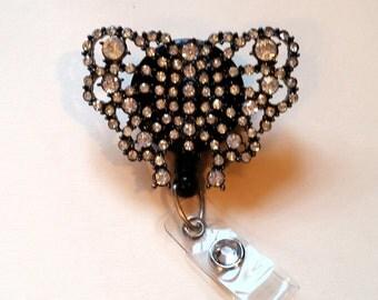 Diamond Butterfly Pendant Badge Reel