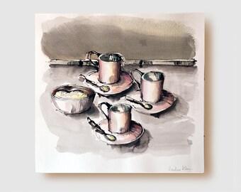 Coffee time - Figurative fine art drawing-