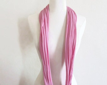 Light Lite Carnation Pink Upcycled Recycled Infinity T shirt Scarf