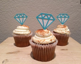 12 Diamond Cupcake Topper Tiffany Blue Bridal Shower Cupcake Topper Food Pick