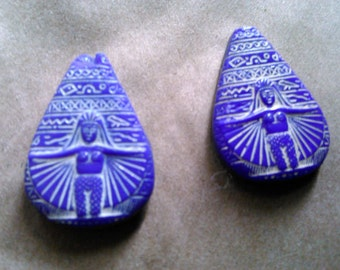 Pair of Egyptian Revival antique glass beads.  Made in Czechoslovakia.