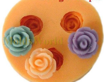 A049 Rose Flower Cabochon 3 Cavity Flexible Silicone Mold Mould for Crafts, Jewelry, Scrapbooking,  (resin, Utee, pmc, polymer clay)