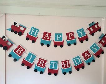 Train Birthday Banner