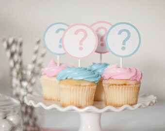 Gender Reveal Party, Question Mark Toppers,  Baby Shower Decoration, Set of 12 Cupcake Toppers