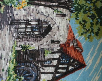 Vintage Tapestry by Penelope Made in England Wool Tapestry Water Mill Pattern Wall Hanging Country Decor French Country Style Needlepoint