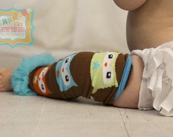 DIY Girls Owl LEG WARMERS-Brown Leg Warmers with Owl Print and Aqua Chiffon Ruffle-Owl Birthday-Cake Smash-Wholesale