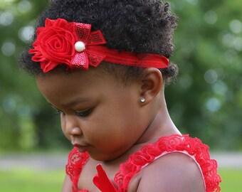 Red Shabby Chic Flower Headband with Sequin Bow...Baby Girls Headband..Girls Hair Bows..Newborn Headband...Pageant Wear...Chistmas Bow