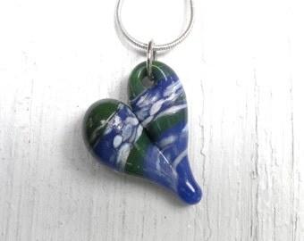 Heart Jewelry Pendant Glass Necklace Lampwork Hand Blown Boro SRA purple and green