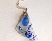 Sea Glass Pendant. Wire Wrapped. Blue. Aqua. Ocean. Nautical. Beach. Silver. Unique. Iridescent. Whimsical. Silver Chain. Under 25. Gifts.