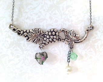 Grape Vines Antique Silver Tone Necklace. Glass Heart. Green. Leaves Garden. Pearl. Unique Necklaces Gunmetal Under 20. Gifts for Her.