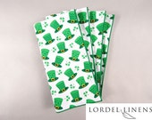 St. Patricks Day Napkins, Set of 4 Napkins, Green Irish Top Hats, Shamrocks, St Pat's Home Decor, Table Accents
