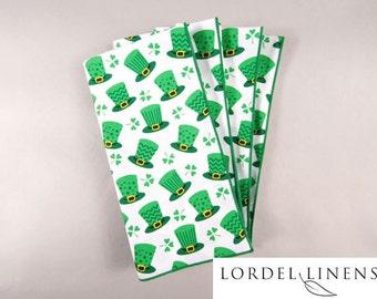 St. Patricks Day Napkins, Set of 4 Napkins, Green Irish Top Hats, Shamrocks, St Pat's Home Decor, Table Accents