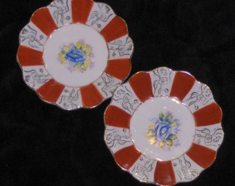 Vintage Occupied Japan Floral Candy Dishes Blue Flower Nut Plates Two Decorative Retro Plates