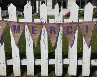 Upcycled Burlap Banner MERCI (Purple Painted Letters, White Painted Hearts with Lilac felt backing) - Eco-Friendly Wedding Decor