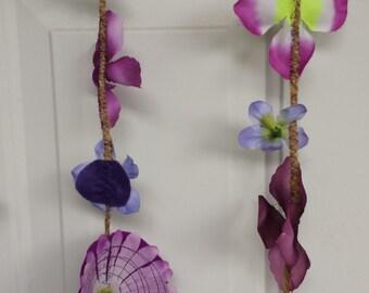 Upcycled Leaves Garland Doorway Curtain - Purple Flowers- Handmade Leave Backdrop - Wedding Graduation Birthday - Handmade Green Recycled