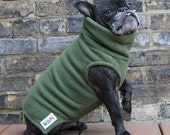 Boys Fleece French Bulldog Pug Turtleneck Sweater - Winter Green