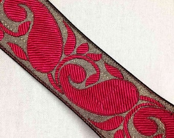 Brocade Silk Border - Hot Pink and Copper / Gold Trim / Lace / Ribbon - Paisley Pattern 1 Yard Border