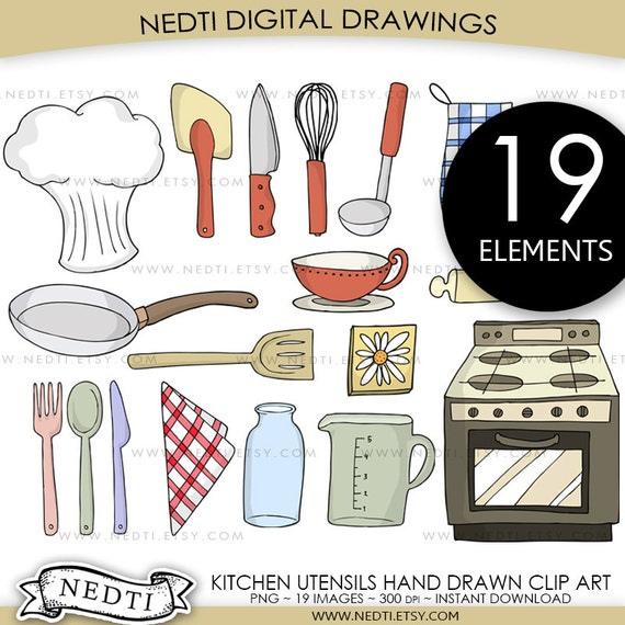 Items similar to kitchen utensils clip art set png for Kitchen set drawing