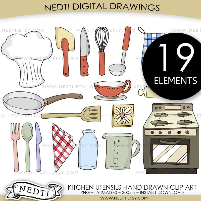 Kitchen Utensils Clip Art Set PNG Commercial And Personal