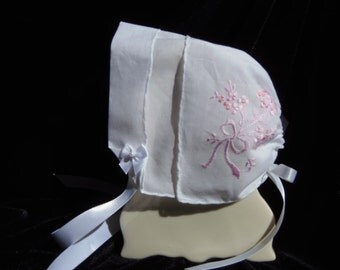 Magic Heirloom Hanky Bonnet Handkerchief is embroidered with PINK FRESHCUT flowers 3-6 months