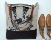 SALE Linen day bag screen printed with British badger -end of line