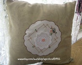 Cushion Cover - home decor - pillow cover, decorator material with soft faun print, doilies on the front and soft Indian cotton on the back.