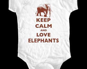 Keep Calm and Love Elephants baby one-piece or Shirt - infant, Toddler, Youth Shirt