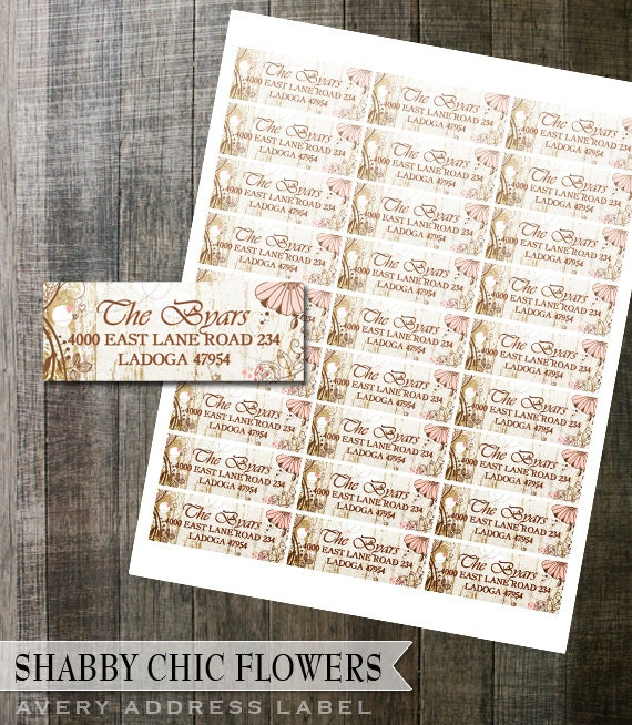 shabby chic floral address label diy avery digital labels for