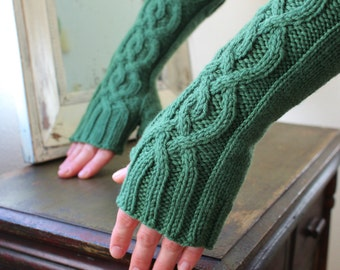 Knit Fingerless Gloves/Arm Warmers, with Cables in Dublin Green