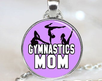 Gymnastics Mom On Purple Background Glass Tile Pendant (PD0442)