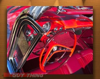Chevy Impala, Boyfriend Gift, Automotive Art, Car Photography, Automobile Art, Chevrolet Picture, Red Cars, Dashboard, Steering Wheel