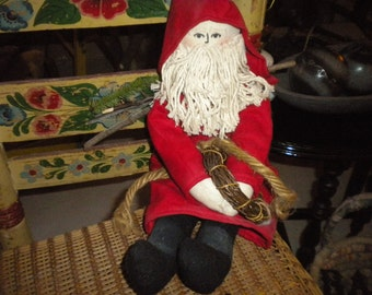 SALE....Cloth Santa With Twigs, Holiday Decor, Santa Collector, Primitive/Country Christmas