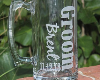 1 Personalized Groomsman Gift, Etched Beer Mug.  Great Bachelor Party Idea,Groomsmen,Best Man,Father of Bride or Groom Gift