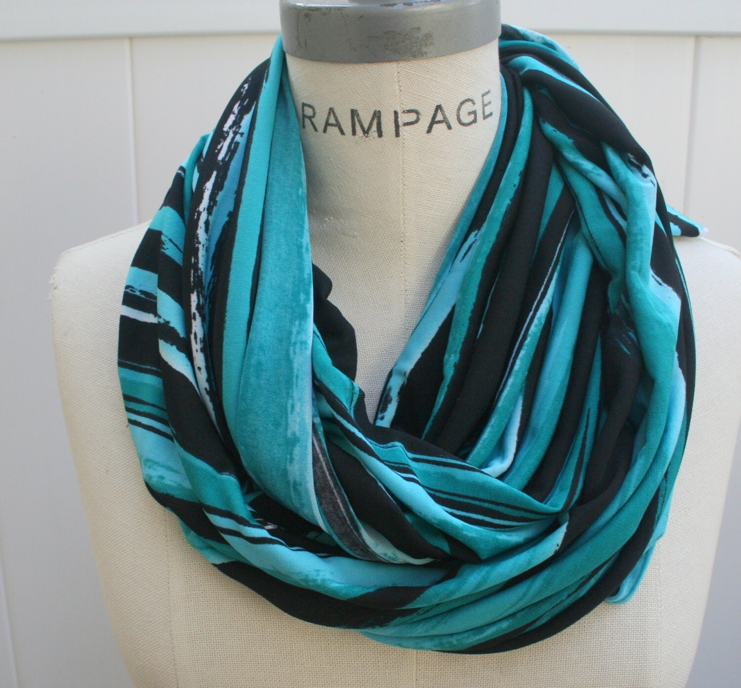colorful infinity scarf blue scarf winter scarf by piyoyo