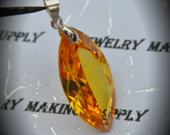 AAA Silver Plated Marquis Pendant With Yellow Cubic Zirconia